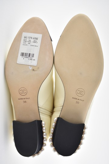 Chanel Stiletto Leather Lambskin Ankle ivory Boots Image 10