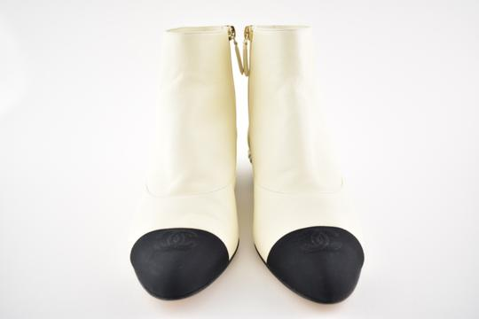 Chanel Stiletto Leather Lambskin Ankle ivory Boots Image 2