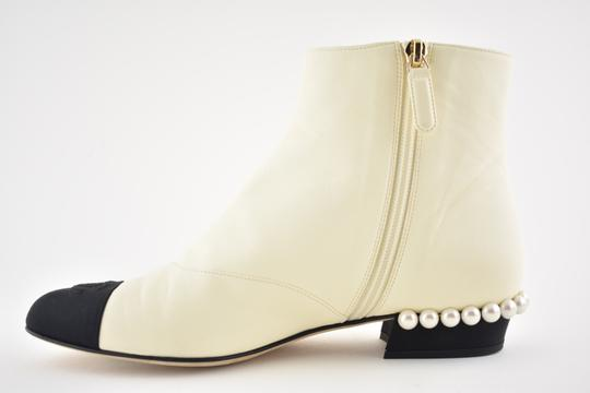 Chanel Stiletto Leather Lambskin Ankle ivory Boots Image 6