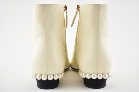 Chanel Stiletto Leather Lambskin Ankle ivory Boots Image 8