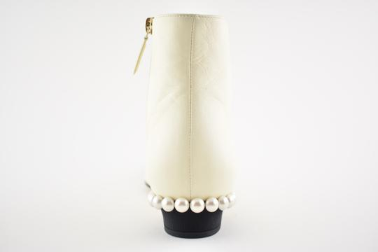 Chanel Stiletto Leather Lambskin Ankle ivory Boots Image 9