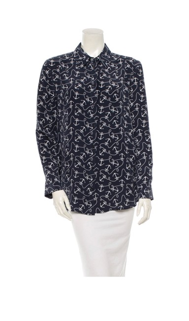 Equipment Navy and White Weq24082 Button-down Top Size 4 (S) Equipment Navy and White Weq24082 Button-down Top Size 4 (S) Image 1