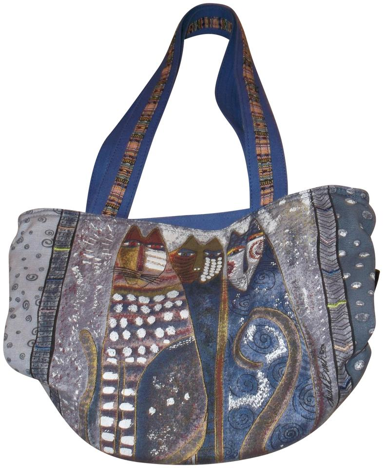 Laurel Burch 3 Cats Canvas Bucket Shoulder Bag
