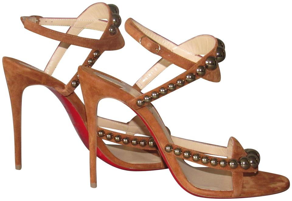 Christian Louboutin Carmel Brown/Cannelle Brown/Cannelle Carmel New Galeria 100 Studded High Heel Sandals 2b9b2a