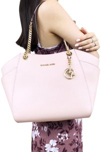 c2d27a40f9c7 Michael Kors Saffiano Jet Set Travel Chain Shoulder Pastel Pink Leather Tote