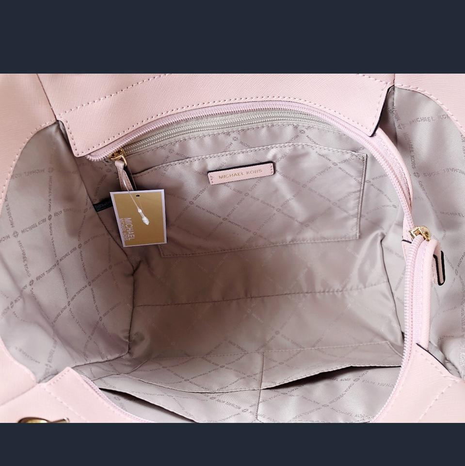 d2552ec404be Michael Kors Saffiano Leather Jet Set Chain Tote in Pastel Pink Image 9.  12345678910
