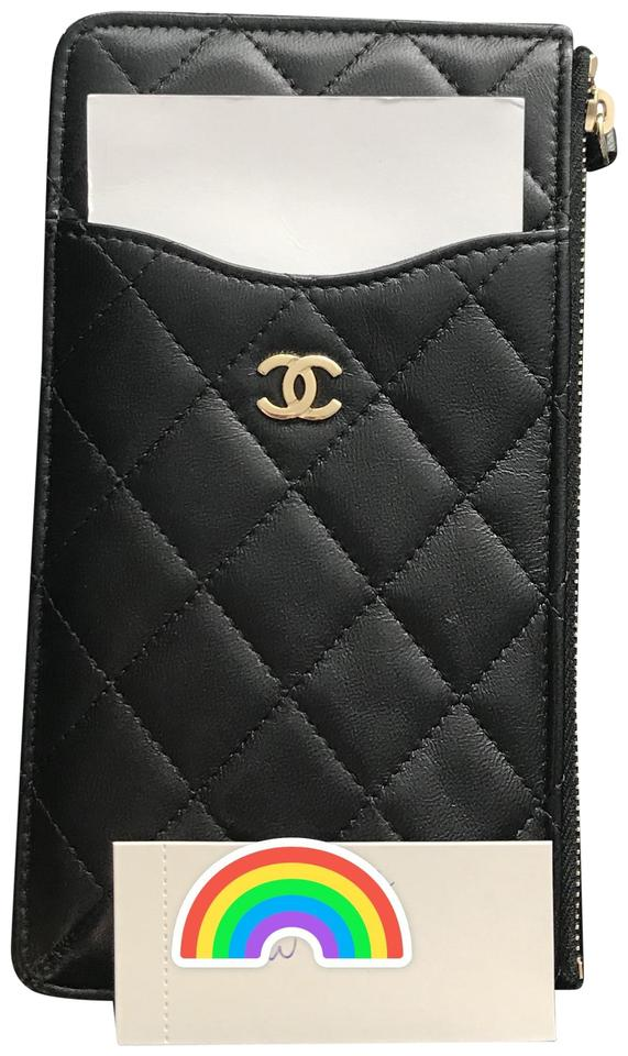 100% authentic c412b ab22e Chanel Black Cell Phone Case/ Card Holder Lambskin Gold Hardware Wallet