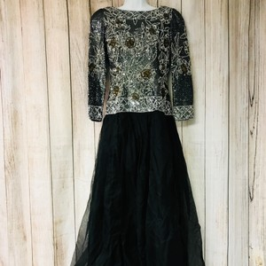 Black Polyester Embellished Evening Mother Of The Bride Formal Bridesmaid/Mob Dress Size 6 (S)