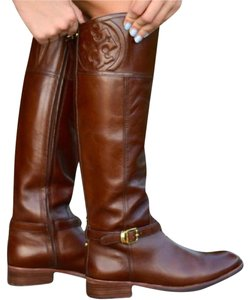 Tory Burch Leather Logo Chestnut Brown Boots