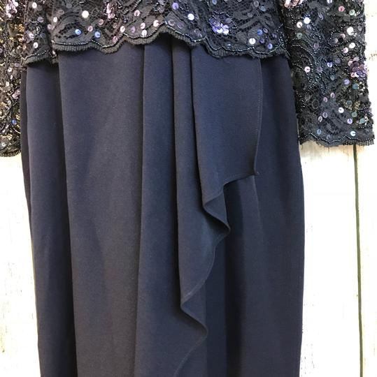 Scala Navy Polyester Collection Embellished Lace Evening Cocktail Gown Formal Bridesmaid/Mob Dress Size 8 (M) Image 4