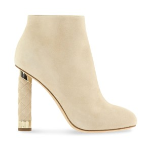 Chanel Stiletto Leather Ankle Tower Beige Boots