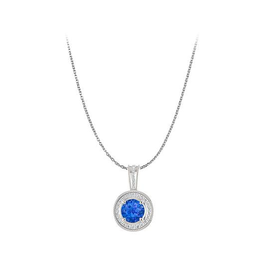 Preload https://img-static.tradesy.com/item/23752229/blue-fabulous-sapphire-and-cz-halo-pendant-in-925-silver-necklace-0-0-540-540.jpg