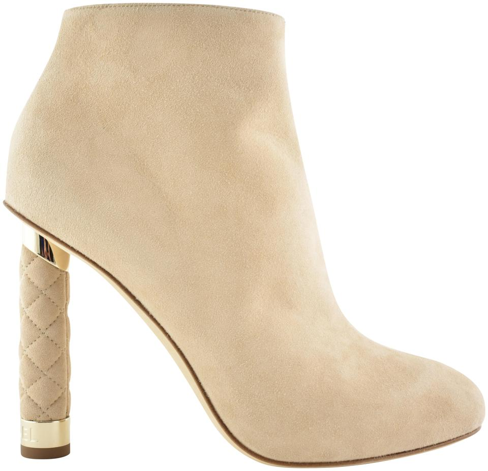 c4367348c9d Chanel Beige 18p Nude Suede Coco Tower Cc Quilted Short Ankle Heel ...