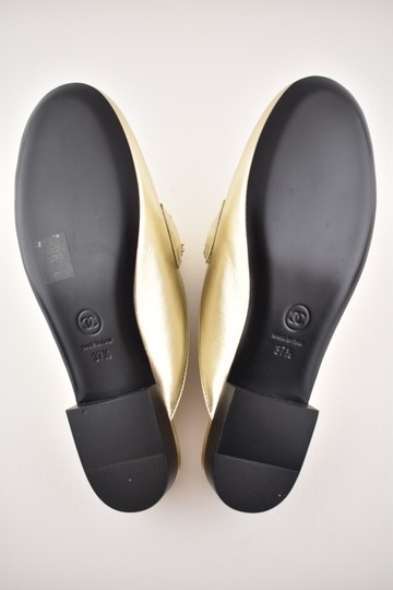 Chanel Lambskin Leather Ballerina Ballet Slide gold Flats Image 10