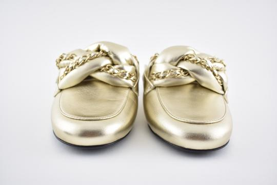 Chanel Lambskin Leather Ballerina Ballet Slide gold Flats Image 3