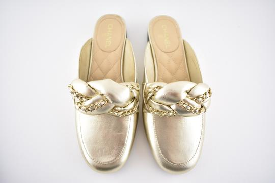 Chanel Lambskin Leather Ballerina Ballet Slide gold Flats Image 5