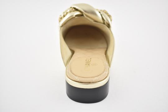 Chanel Lambskin Leather Ballerina Ballet Slide gold Flats Image 9