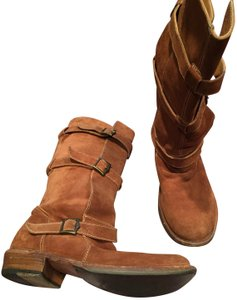 Fiorentini + Baker Motorcycle Buckle Suede Leather brown Boots