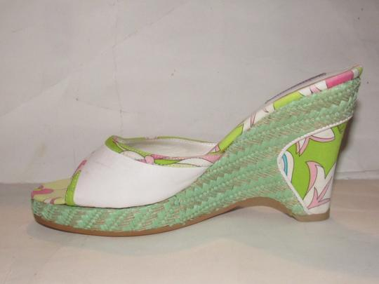 Emilio Pucci Dressy Or Casual Mule Style W/ Buckle Wedge Heels Excellent Vintage Perfect For Summer white leather and abstract floral print with teal green raffia Sandals Image 10