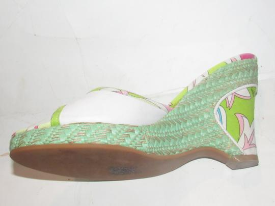 Emilio Pucci Dressy Or Casual Mule Style W/ Buckle Wedge Heels Excellent Vintage Perfect For Summer white leather and abstract floral print with teal green raffia Sandals Image 2