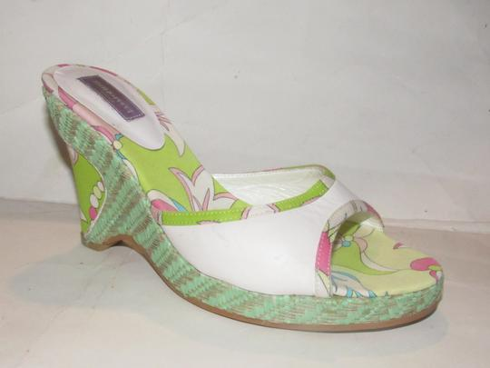 Emilio Pucci Dressy Or Casual Mule Style W/ Buckle Wedge Heels Excellent Vintage Perfect For Summer white leather and abstract floral print with teal green raffia Sandals Image 4