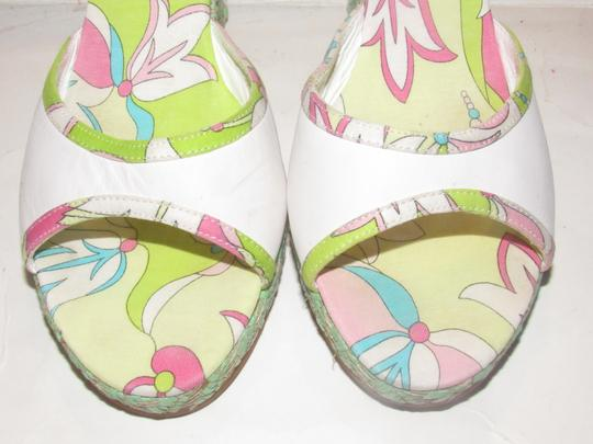 Emilio Pucci Dressy Or Casual Mule Style W/ Buckle Wedge Heels Excellent Vintage Perfect For Summer white leather and abstract floral print with teal green raffia Sandals Image 5