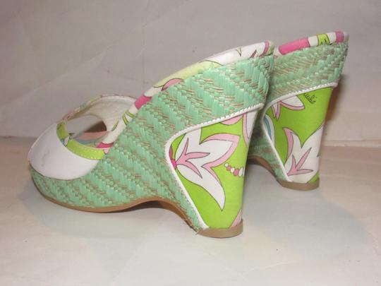 Emilio Pucci Dressy Or Casual Mule Style W/ Buckle Wedge Heels Excellent Vintage Perfect For Summer white leather and abstract floral print with teal green raffia Sandals Image 7