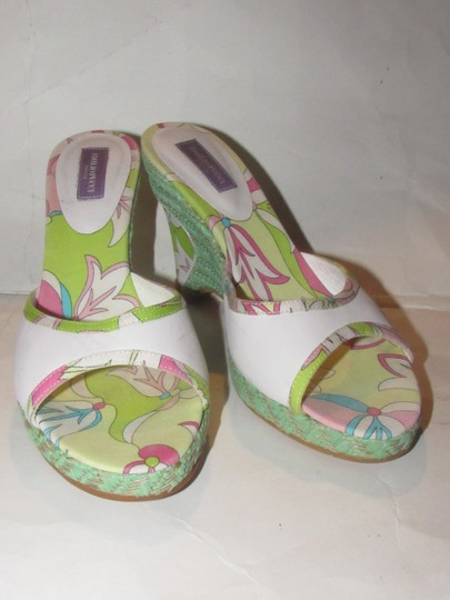 Emilio Pucci Dressy Or Casual Mule Style W/ Buckle Wedge Heels Excellent Vintage Perfect For Summer white leather and abstract floral print with teal green raffia Sandals Image 9