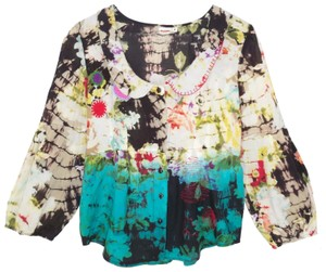 Tianello Cotton Tie Dye Printed Crochet Top
