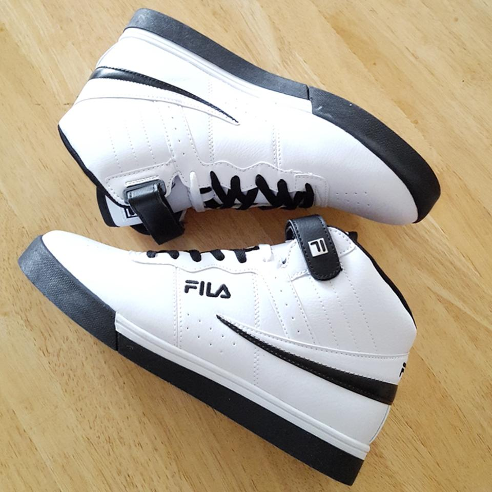Fila Black & White Men's Vulc 13 Mid Plus Sneakers Size US 10 Regular (M, B)