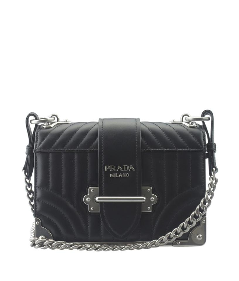 af939a4fb692 Prada Cahier 1bd045 Quilted (152010) Black Leather Cross Body Bag ...