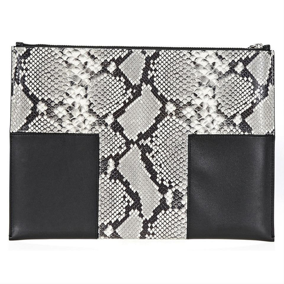 Burch Tory and Leather Snake Pouch Smooth T Wristlet Block Large Black print T daAqa4nC