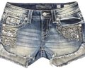 Rock Revival Jean Shorts Skort Blue