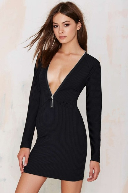 Nasty Gal Zipper Fitted Ribbed Plunge Dress Image 1