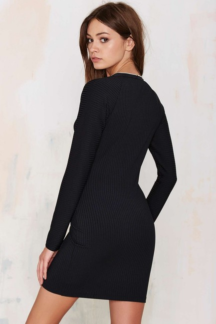 Nasty Gal Zipper Fitted Ribbed Plunge Dress Image 2