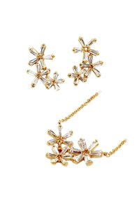Ocean Fashion Gold Simple flowers crystal necklace earrings set