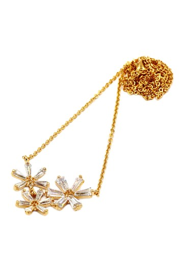 Ocean Fashion Gold Simple flowers crystal necklace earrings set Image 2