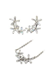 Ocean Fashion Silver Simple flowers crystal necklace earrings set