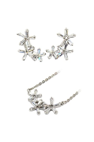 Preload https://img-static.tradesy.com/item/23752604/silver-simple-flowers-crystal-earrings-set-necklace-0-0-540-540.jpg