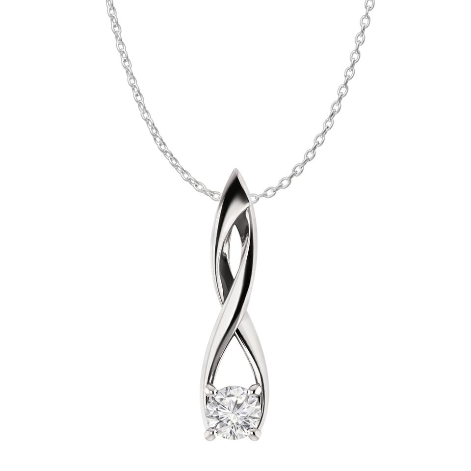 becbf1b7f White Cz Solitaire Freeform Fashion Pendant In 925 Silver Necklace ...