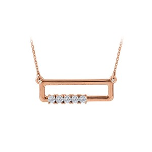 DesignerByVeronica CZ Rectangle Necklace For Mother in Rose Gold Vermeil