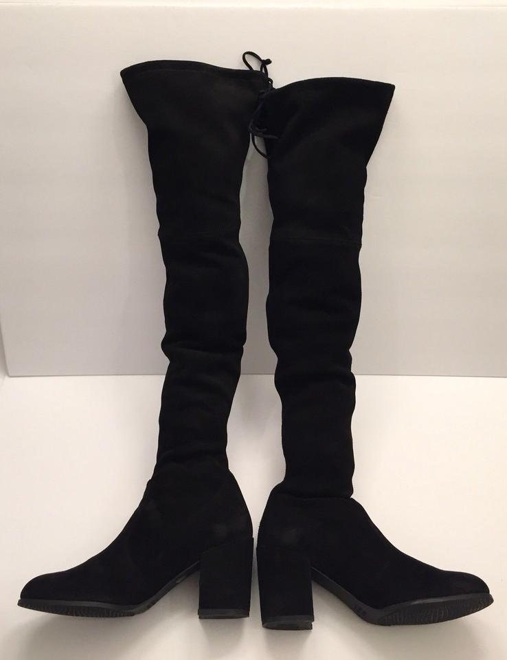 Weitzman The Stretch Boots Over Knee Suede Stuart Tieland Booties Black Pqw6xRd
