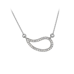DesignerByVeronica Cubic Zirconia Geometric Necklace 925 Sterling Silver