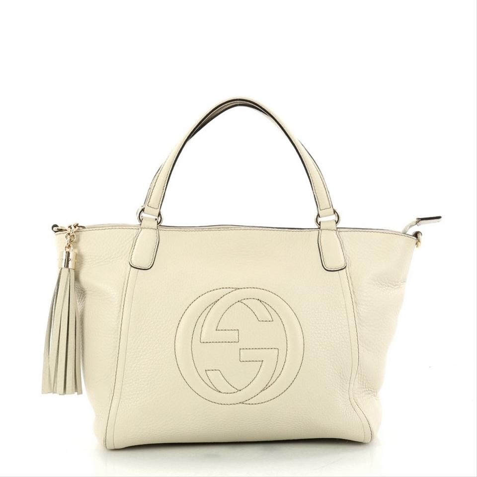 f452d4efd3e8 Gucci Soho Convertible Top Handle Sma Off-white Leather Tote - Tradesy