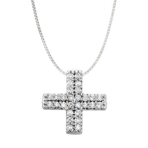 DesignerByVeronica 0.25 CT Cubic Zirconia Sterling Silver Cross Pendant