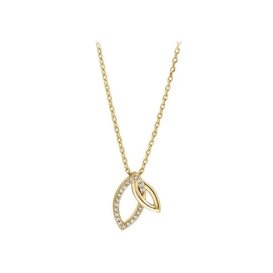 Preload https://img-static.tradesy.com/item/23753165/white-005-ct-cz-18k-yellow-gold-vermeil-double-leaf-necklace-0-0-540-540.jpg