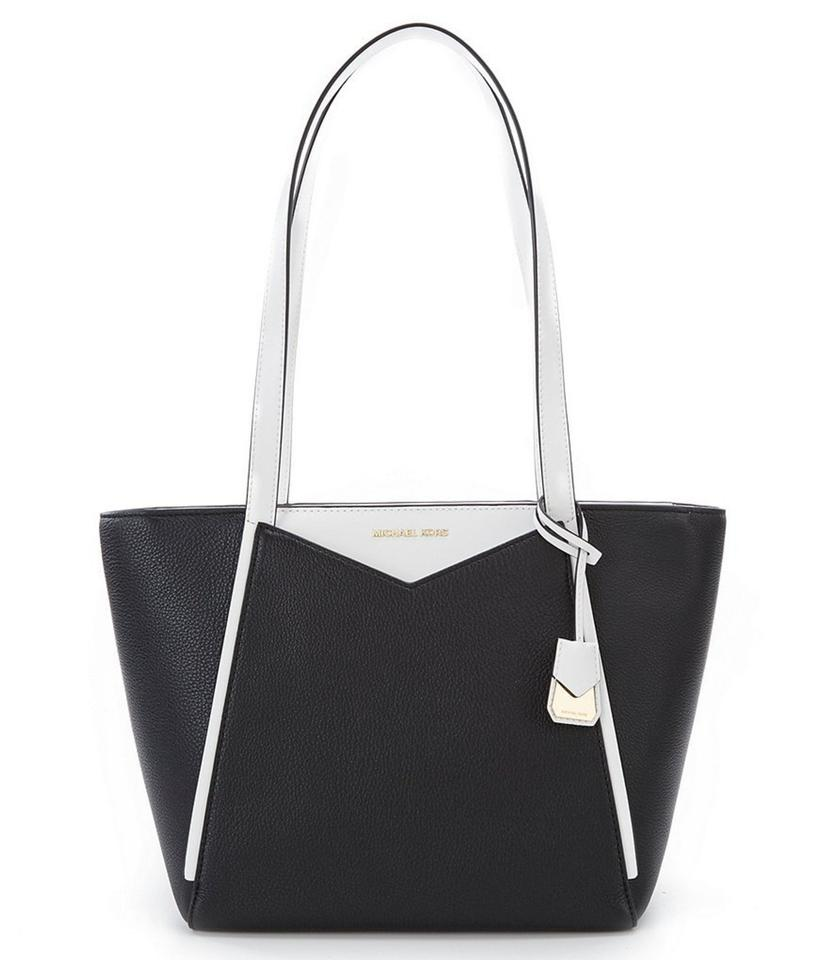 1e04e49c82 MICHAEL Michael Kors Whitney Medium Pebble Tote Black Optic White ...