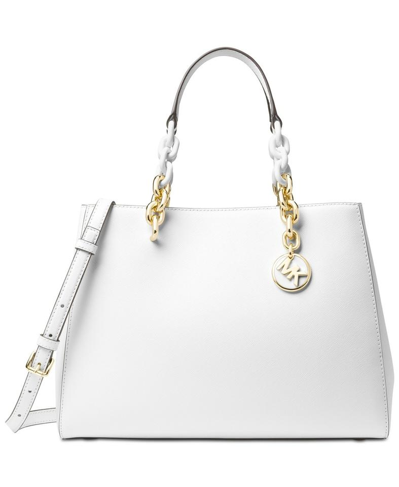 ccf92eb4a0a3 MICHAEL Michael Kors Medium Cynthia Saffiano Leather Shoulder Satchel in  Optic White Image 0 ...