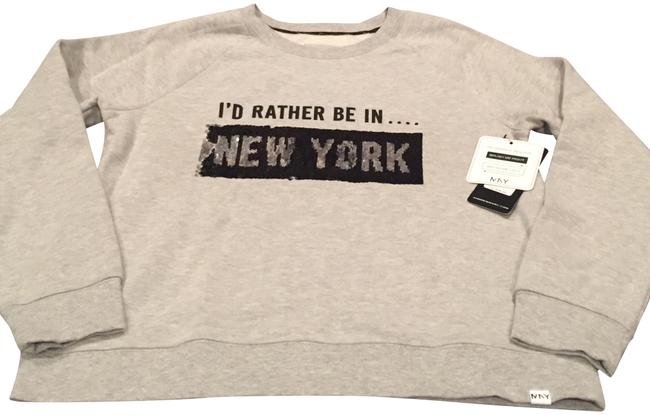 Preload https://img-static.tradesy.com/item/23753265/andrew-marc-i-d-rather-be-in-ny-l-grey-with-black-white-and-silver-sequins-sweater-0-1-650-650.jpg