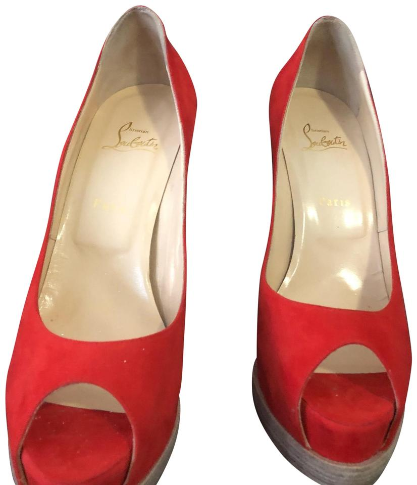 f415afcdb9 Christian Louboutin Red Palais Royale Trepoint 140mm Suede Peep Toe ...